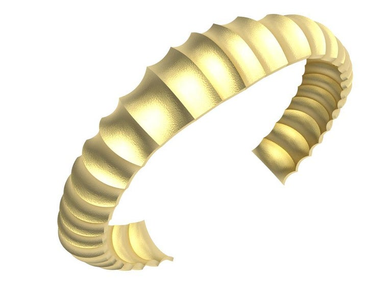18 Karat Yellow Gold Mens Concave Cuff Bracelet, Moving back to my sculpture days. Trying to create the most dynamic movement within a limited space. This cuff trys to fool your eyes, until you look closely. Surprise sublte changes at the same time