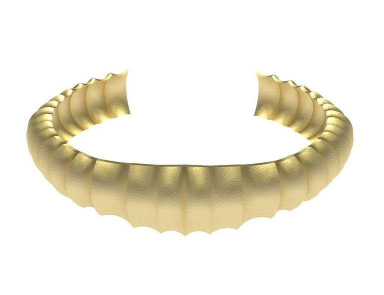 Contemporary 18 Karat Yellow Gold Mens Concave Cuff Bracelet For Sale