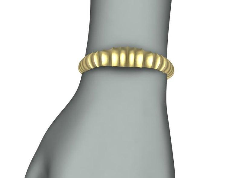 18 Karat Yellow Gold Mens Concave Cuff Bracelet For Sale 1