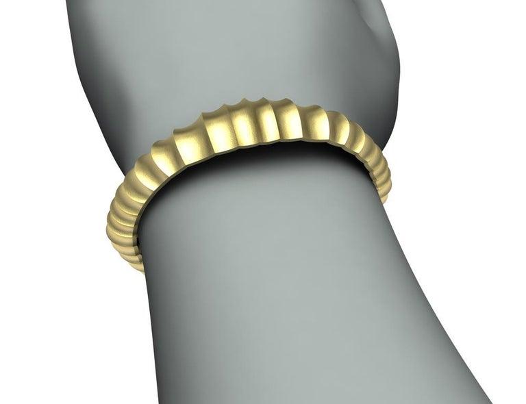 18 Karat Yellow Gold Mens Concave Cuff Bracelet For Sale 2