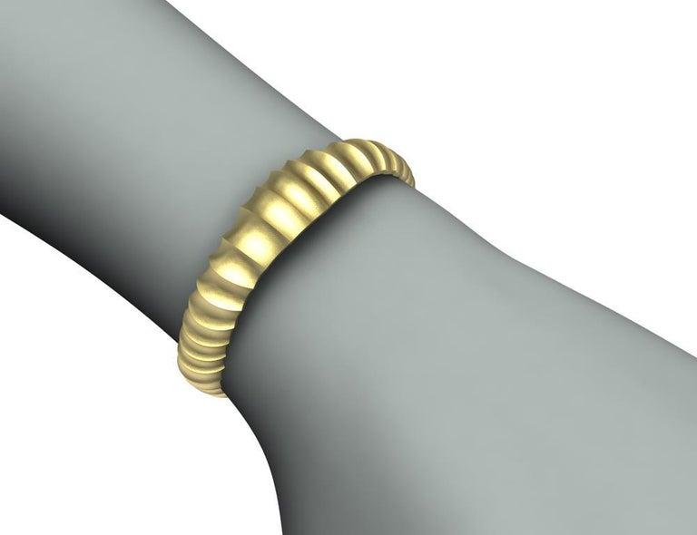18 Karat Yellow Gold Mens Concave Cuff Bracelet For Sale 4
