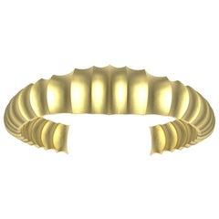 18 Karat Yellow Gold Mens Concave Cuff Bracelet