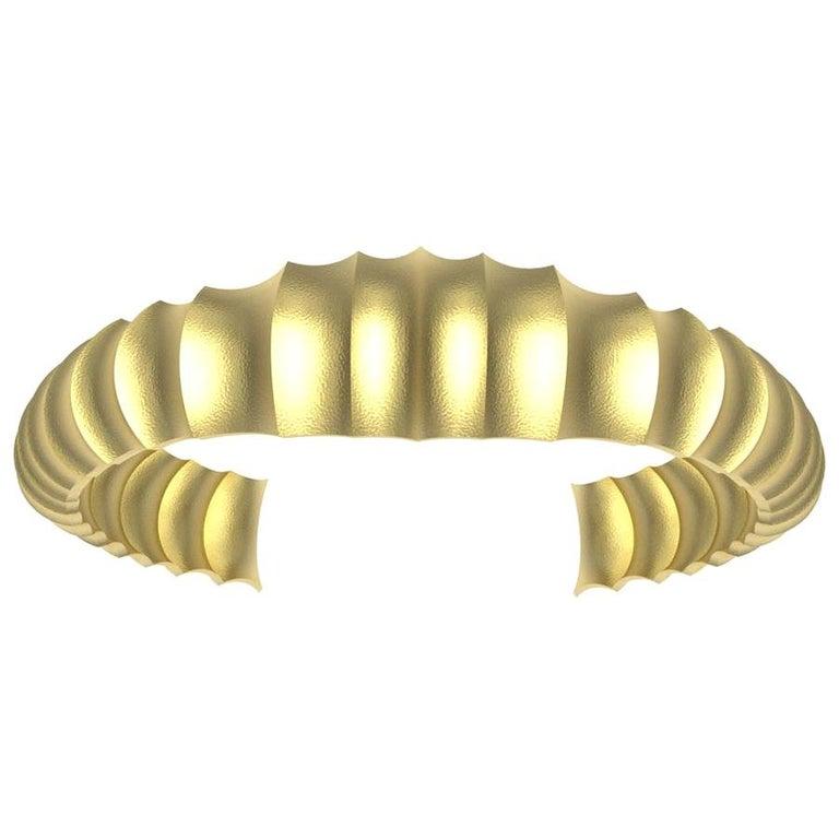 18 Karat Yellow Gold Mens Concave Cuff Bracelet For Sale