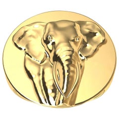 18 Karat Yellow Gold Men's Elephant 2 Tusks Signet Ring