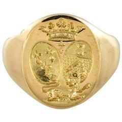 18 Karat Yellow Gold Men's Modern Signet Ring