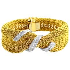 18 Karat Yellow Gold Mesh Diamond Bracelet