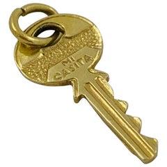 "18 Karat Yellow Gold ""Mi Casita"" Key Charm Pendant"