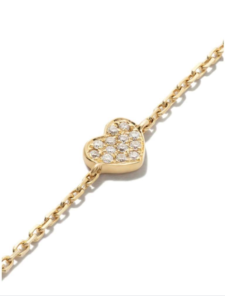 Round Cut 18 Karat Yellow Gold Miami Heart Diamond Bracelet