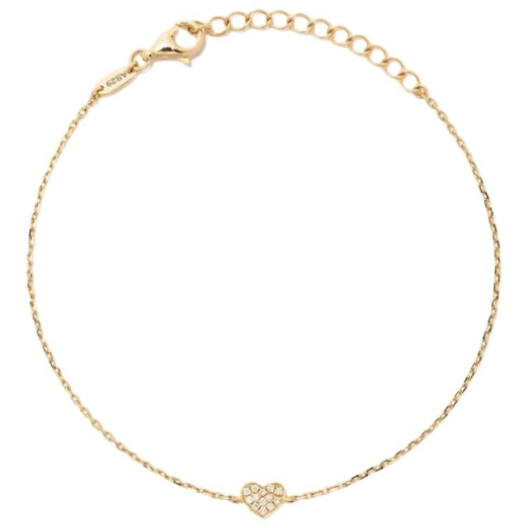 18 Karat Yellow Gold Miami Heart Diamond Bracelet