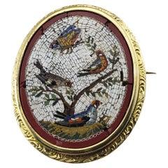 18 Karat Yellow Gold Micro Mosaic Brooch/Pin