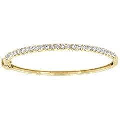 18 Karat Yellow Gold Micro-Prong Diamond Bangle '2 Carat'