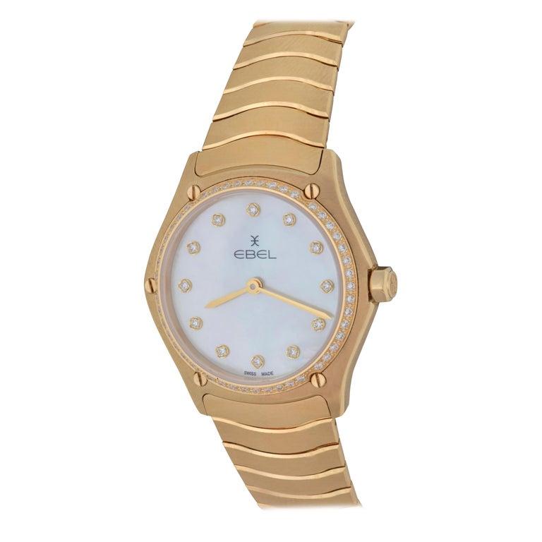 18 Karat Yellow Gold Midsize Ebel Sport Classic Women's Watch 05.3.50.1096 For Sale
