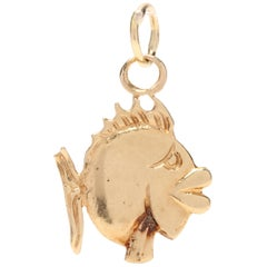 18 Karat Yellow Gold Mini Fish Charm or Pendant