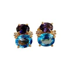 18 Karat Yellow Gold Mini GUM DROP Iolite Blue Topaz Diamond Earrings