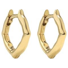 18 Karat Yellow Gold Mini Hoop Earrings