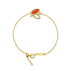 18 Karat Yellow Gold Mini Q Garden Bracelet with Diamonds and Carnelian