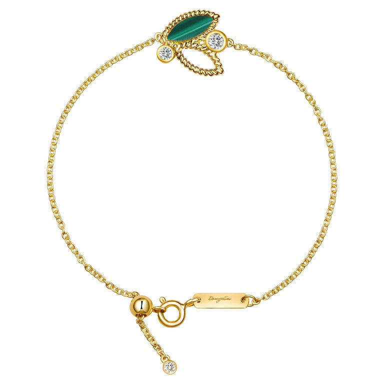18 Karat Yellow Gold Mini Q Garden Bracelet with Diamonds and Green Malachite For Sale