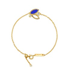 18 Karat Yellow Gold Mini Q Garden Bracelet with Diamonds and Lapis Lazuli