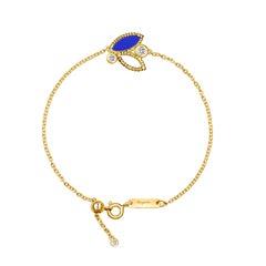 18 Karat Yellow Gold Mini Q Garden Bracelet with Diamonds and Lapis Lazuli