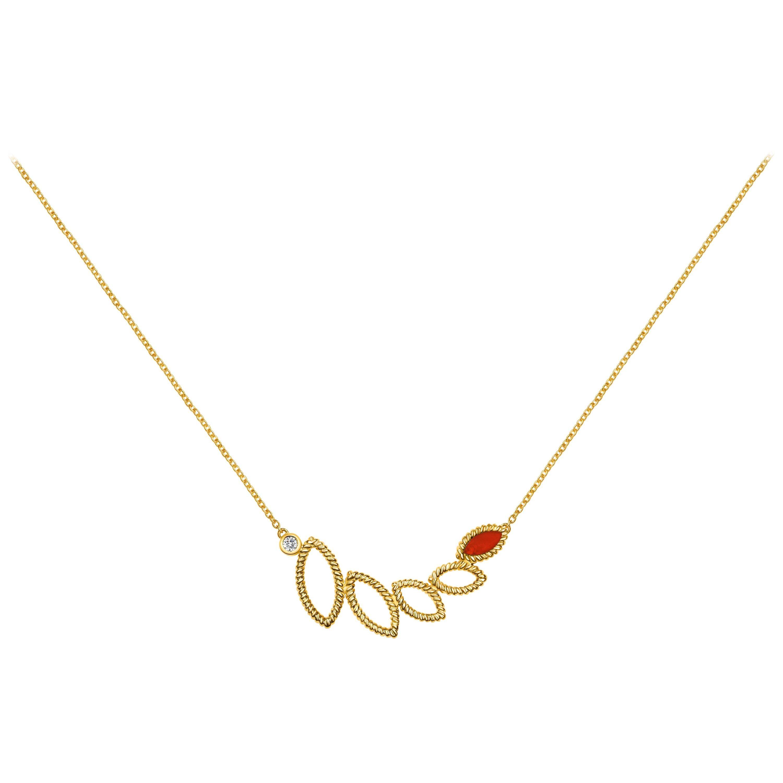 18 Karat Yellow Gold Mini Q Garden Necklace with Diamonds and Carnelian