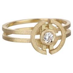 18 Karat Yellow Gold Mini Three Circle Diamond Engagement Ring