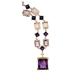 18 Karat Yellow Gold, Mixed Color Amethyst and Diamond Necklace