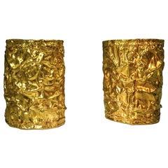 18 Karat Yellow Gold Modern Art Artistic Double Cuff Bangle