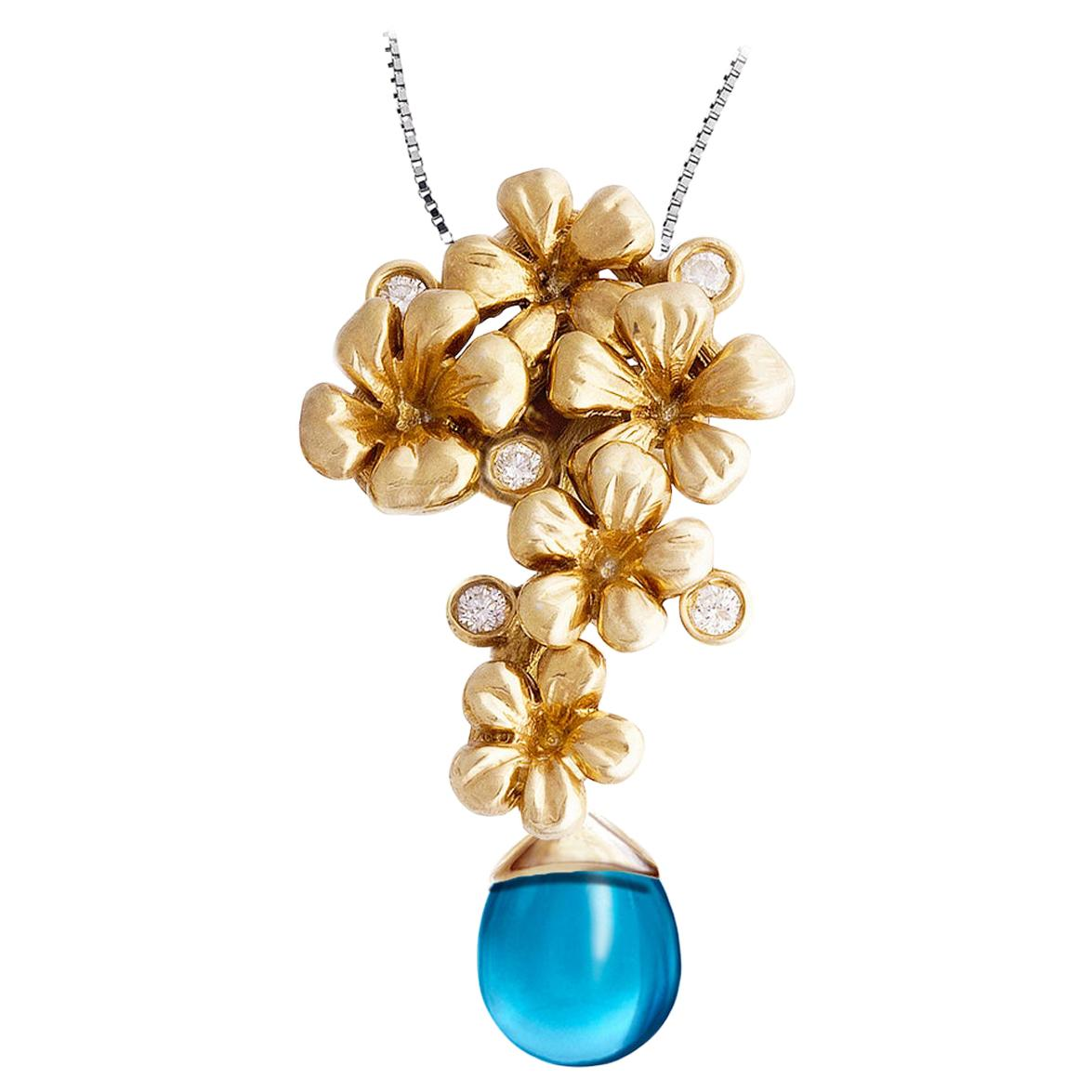 18 Karat Yellow Gold Modern Pendant Necklace with Diamonds and Removable Topaz