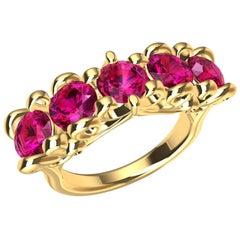 18 Karat Yellow Gold Modern Victorian Rubies Cocktail Ring