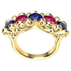 18 Karat Yellow Gold Modern Victorian Sapphires and Rubies Cocktail Ring