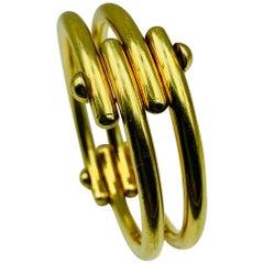 18 Karat Yellow Gold Modernist Bracelet Signed Cherny