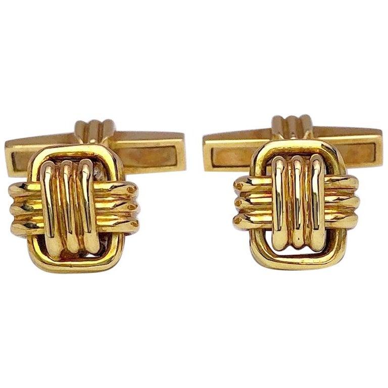 18 Karat Yellow Gold Monkey's Fist Knot Cufflinks For Sale