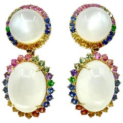 18 Karat Yellow Gold Moonstone and Multi-Color Sapphires Earrings