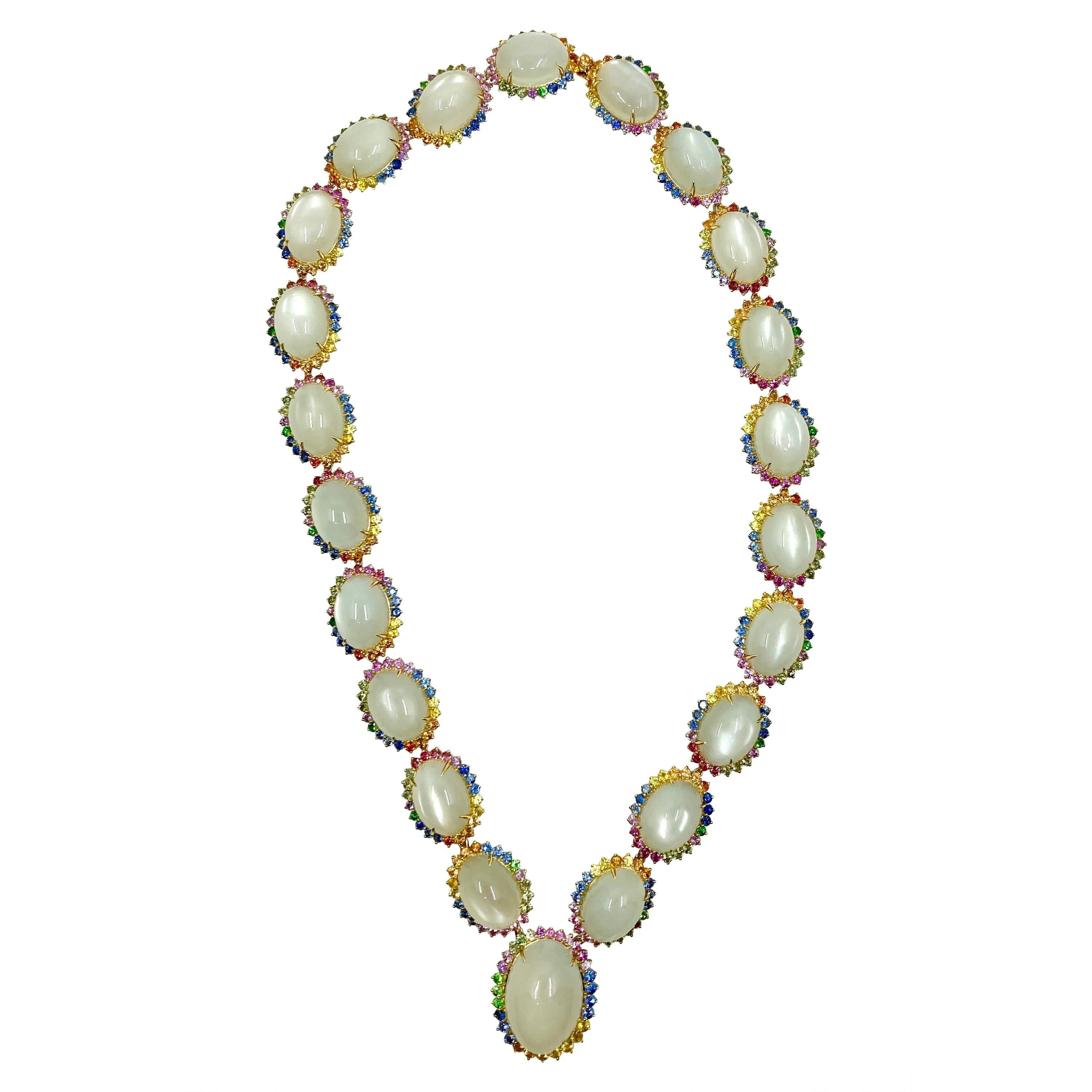 18 Karat Yellow Gold Moonstone and Multi-Color Sapphires Necklace