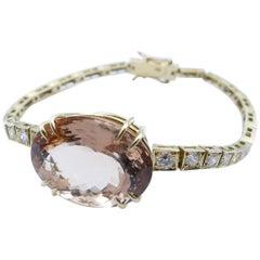 18 Karat Yellow Gold Morganite and Diamond Bracelet