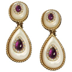 18 Karat Yellow Gold, Mother of Pearl, Amethyst and Diamond Drop Earrings