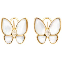 18 Karat Yellow Gold Mother-of-Pearl Diamond Butterfly Earrings