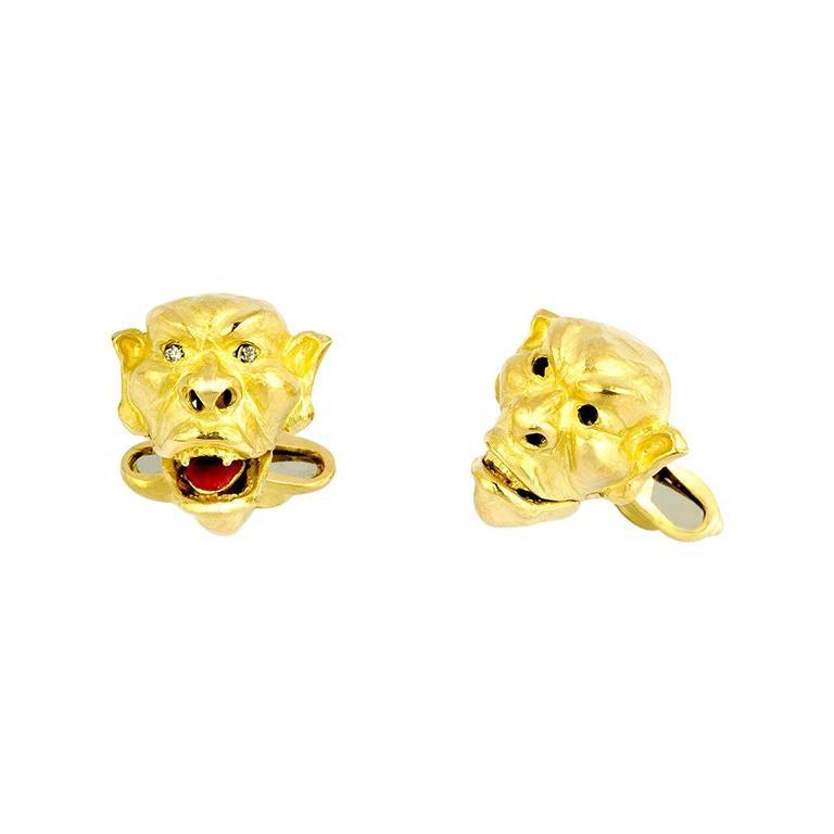 18 Karat Yellow Gold Moving Gargoyle Cufflinks with Diamond Eyes For Sale