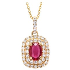 18 Karat Yellow Gold Mozambique No Heat Ruby Halo Diamond Necklace