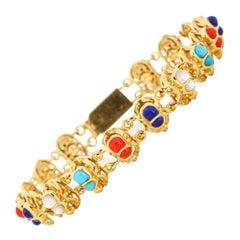 18 Karat Yellow Gold Multi-Color Gemstone Scarab Link Bracelet
