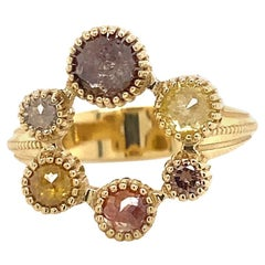 18 Karat Yellow Gold Multi-Color Rosecut and Full Cut Diamond Rose Ring