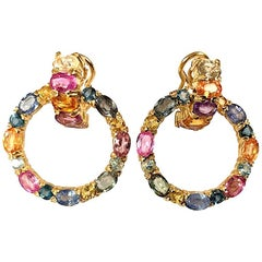 18 Karat Yellow Gold Multi-Color Sapphire Hoop Earring