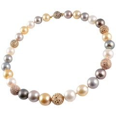 18 Karat Yellow Gold, Multi-Color South Cultured Pearl and Diamond Necklace