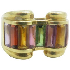 18 Karat Yellow Gold Multi-Color Stone Ring