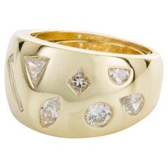 18 Karat Yellow Gold Multi-Cut Diamond Band Ring