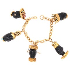 18 Karat Yellow Gold Multi-Gem Blackamoor Head Charm Bracelet