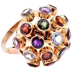 18 Karat Yellow Gold Multi-Gemstone Disco Ring