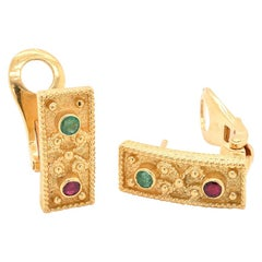 18 Karat Yellow Gold Multi-Gemstone Fancy Earrings