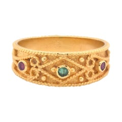 18 Karat Yellow Gold Multi-Gemstone Fancy Ring