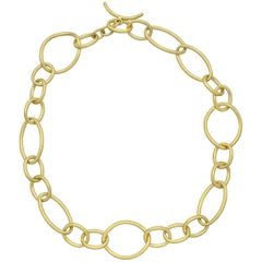 18 Karat Yellow Gold Multi-Shape Link Necklace